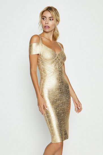 Metallic gold Bandage Off Shoulder Midi Dress