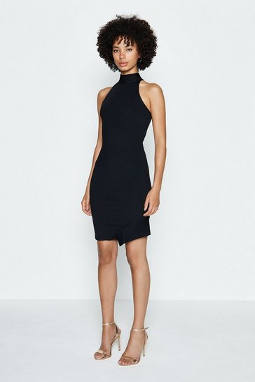 Black High Neck Rib Bandage Dress