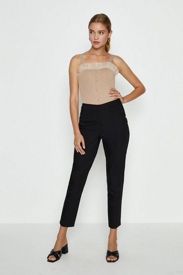Black Button Detail Cotton Sateen Capri Trousers