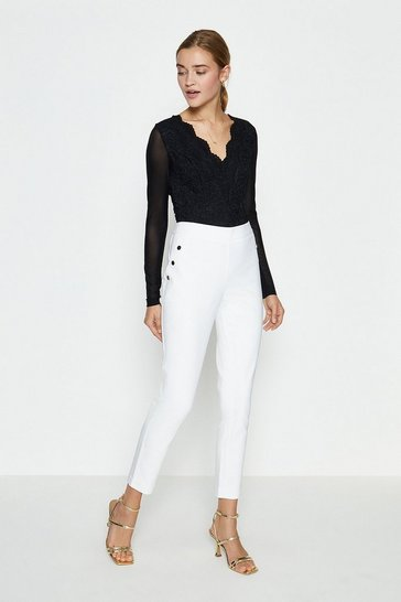 Ivory Button Detail Cotton Sateen Capri Trousers