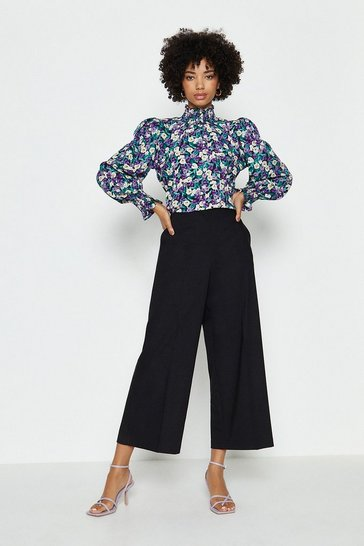 Black Cotton Sateen Wide Leg Crop Trouser