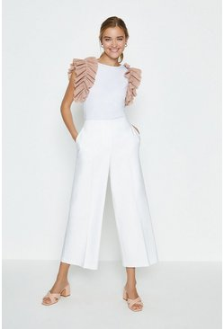 Ivory Cotton Sateen Wide Leg Crop Trouser