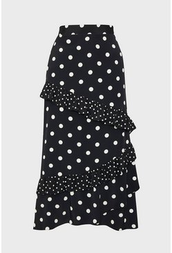 Mono Spotty Ruffle Midi Skirt