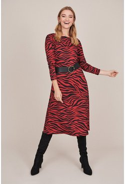 Rust Long Sleeve Tie Belt Animal Jersey Dress