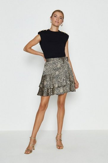 Blackwhite Animal Print Ruffle Satin Short Skirt