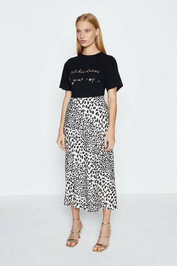 Mono Animal Print Satin Bias Midi Skirt