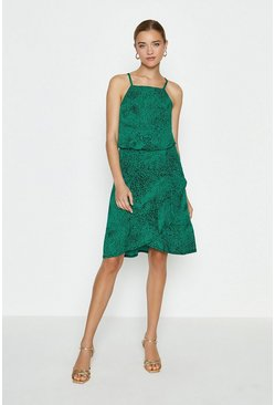 Green Square Neck Animal Printed Ruffle Hem Dress