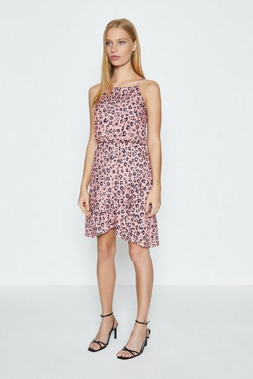 Pink Square Neck Animal Printed Ruffle Hem Dress