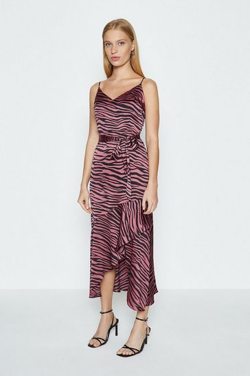 Pink Animal Print Satin Ruffle Hem Cami Dress