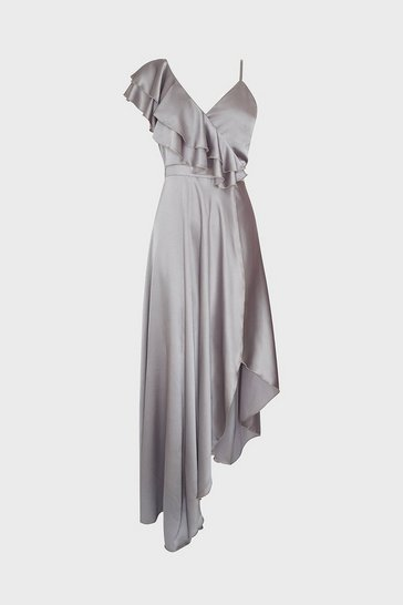 Silver Asymmetric Hem Maxi Dress
