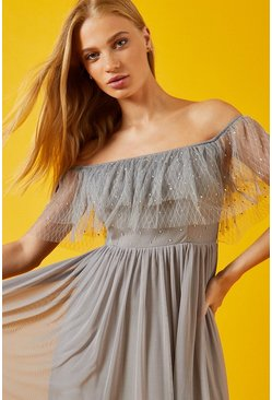 Grey Frill Bardot Embellished Bodice Maxi Dress