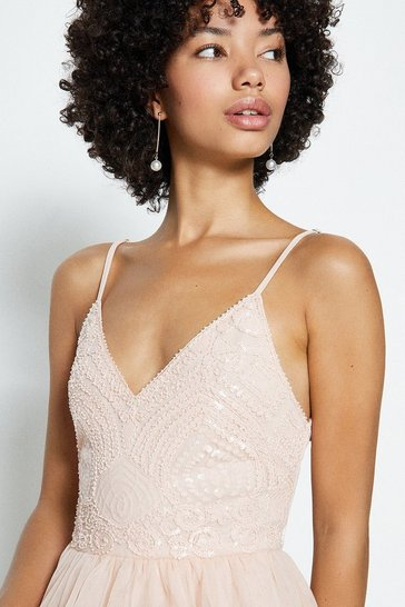 Peach Cami Strap Midi Dress