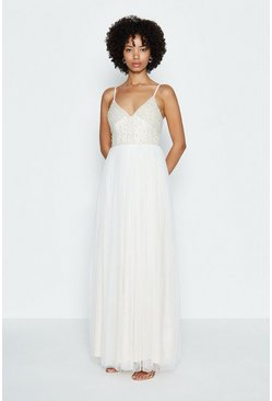 Ivory Embellished Bodice Maxi Dress
