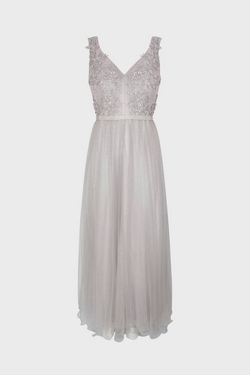Grey Embellished Bodice Maxi Dress