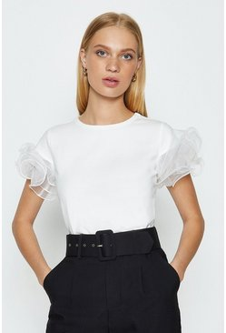 Ivory Organza Tiered Sleeve T-Shirt