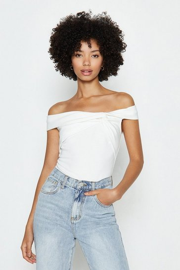 Ivory Ruched Front Bardot Top