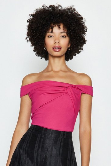 Pink Ruched Front Bardot Top
