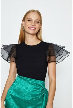Black Organza Ruffle Short Sleeved T-Shirt