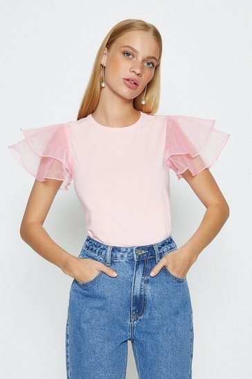 Blush Organza Ruffle Short Sleeved T-Shirt