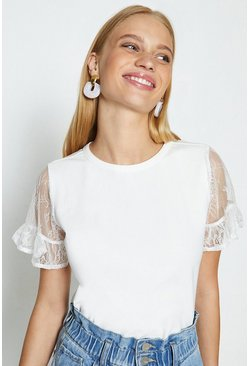 Ivory Short Sleeved Lace T-Shirt