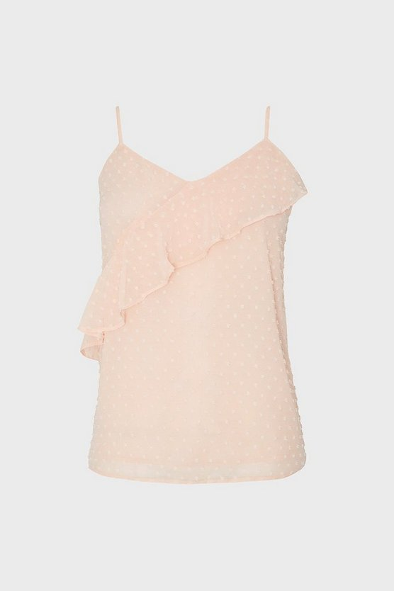 Blush Strappy Ruffle Front Cami Top