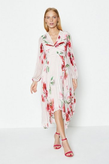 Blush Pleated Hanky Hem Dress