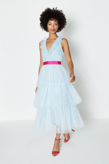 Ice blue Tiered Tulle Midi Dress