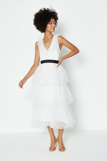 Mono Tiered Tulle Midi Dress