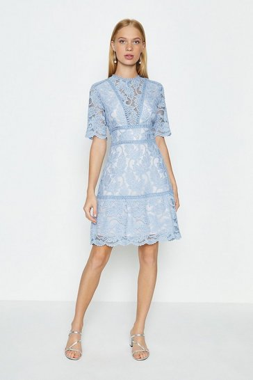Blue Lace Insert Flare Sleeve Dress