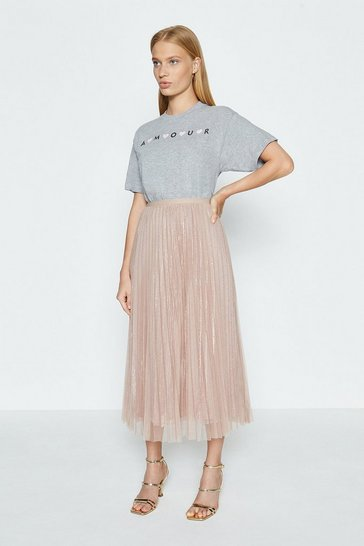 Nude Pleated Midi Skirt