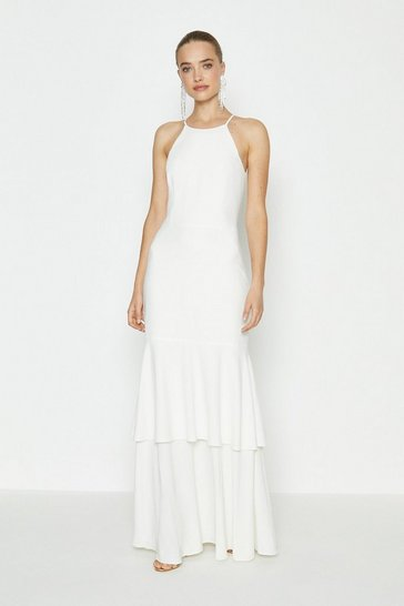 Ivory Halterneck Tiered Hem Maxi Dress