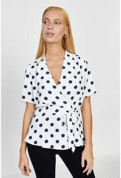 Mono Short Sleeved Spotty Wrap Top