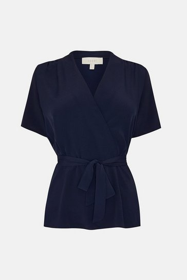 Navy Short Sleeve Wrap Front Top