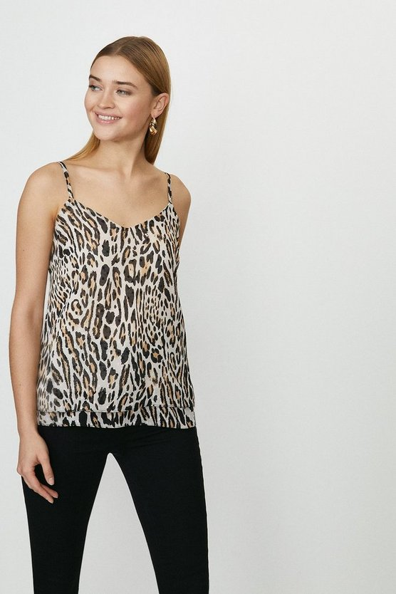 Strappy Animal Printed Cami Top