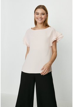 Blush Short Sleeve Woven Front T-Shirt