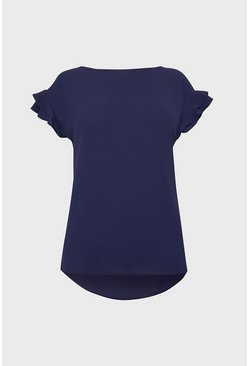 Navy Short Sleeve Woven Front T-Shirt