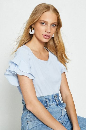 Pale blue Short Sleeve Woven Front T-Shirt