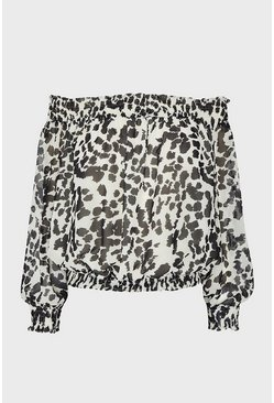 Long Sleeve Animal Print Bardot  Top