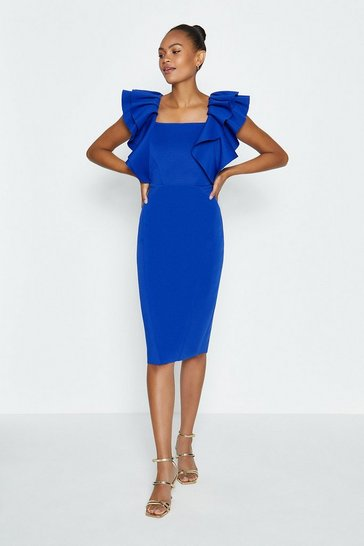 Cobalt Square Neck Ruffle Shoulder Midi Dress