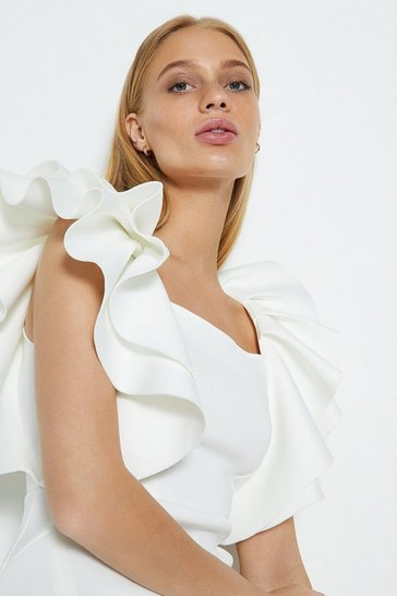 Ivory Square Neck Ruffle Shoulder Midi Dress