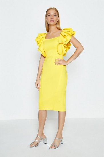 Yellow Square Neck Ruffle Shoulder Midi Dress