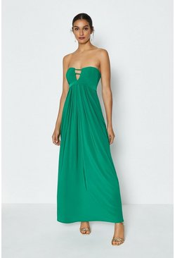 Green Double Strap Bandeau Maxi Dress