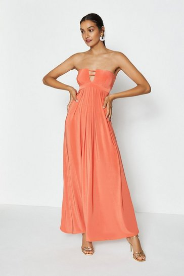 Orange Double Strap Bandeau Maxi Dress
