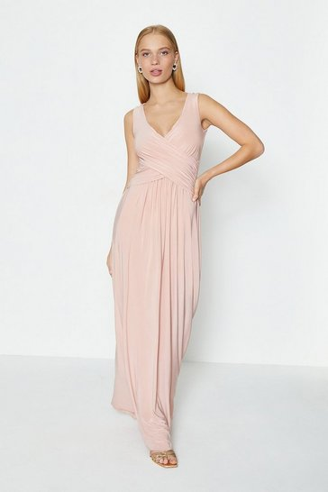 Blush Cross Over Sleeveless Maxi Dress