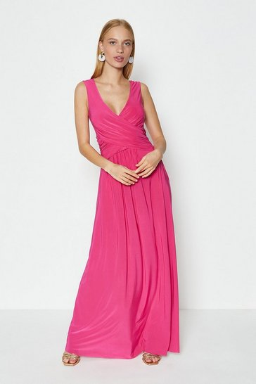 Cerise Cross Over Sleeveless Maxi Dress