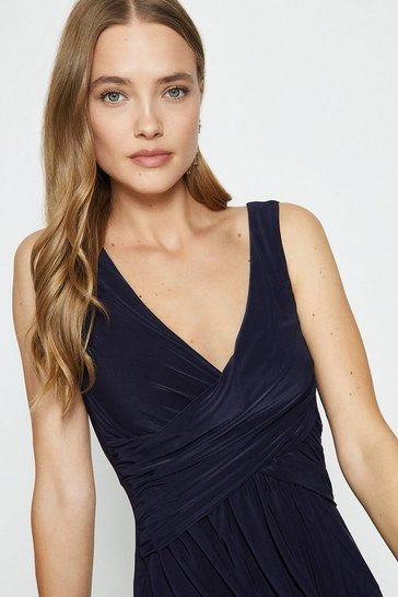 Navy Cross Over Sleeveless Maxi Dress