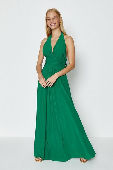 Green Halter Neck Maxi Dress