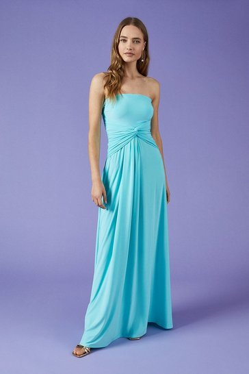 Aqua Plain Bandeau Jersey Maxi Dress