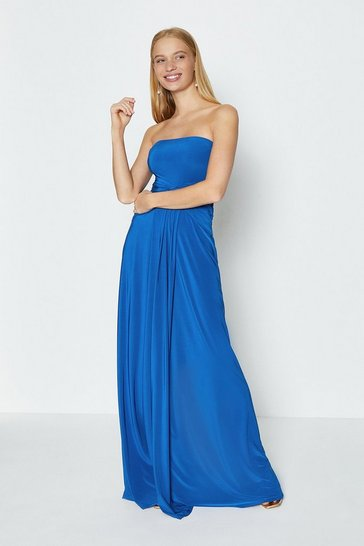 Cobalt Plain Bandeau Jersey Maxi Dress