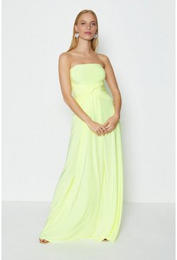 Lime Plain Bandeau Jersey Maxi Dress